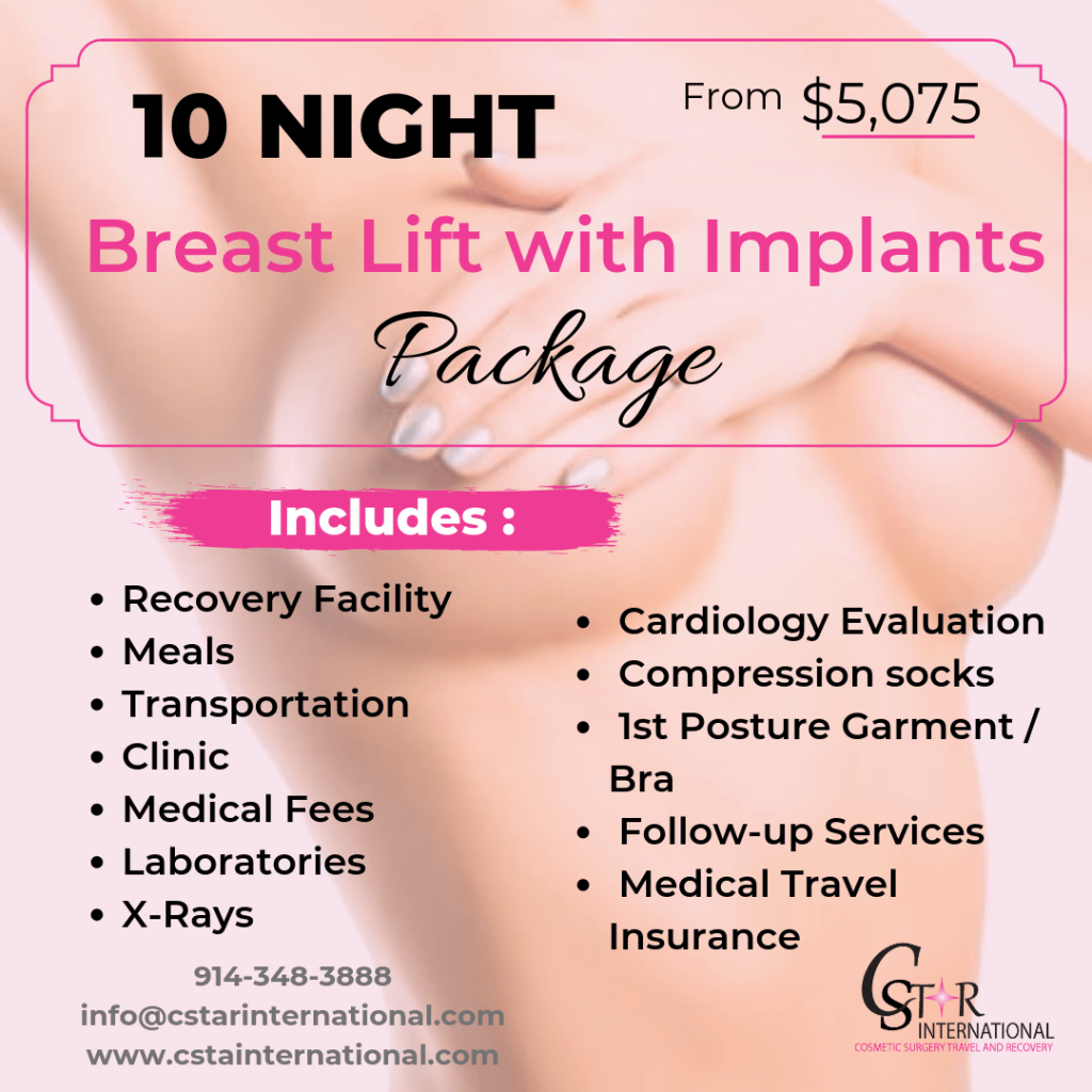 10 Night Breast Lift with Implants Package