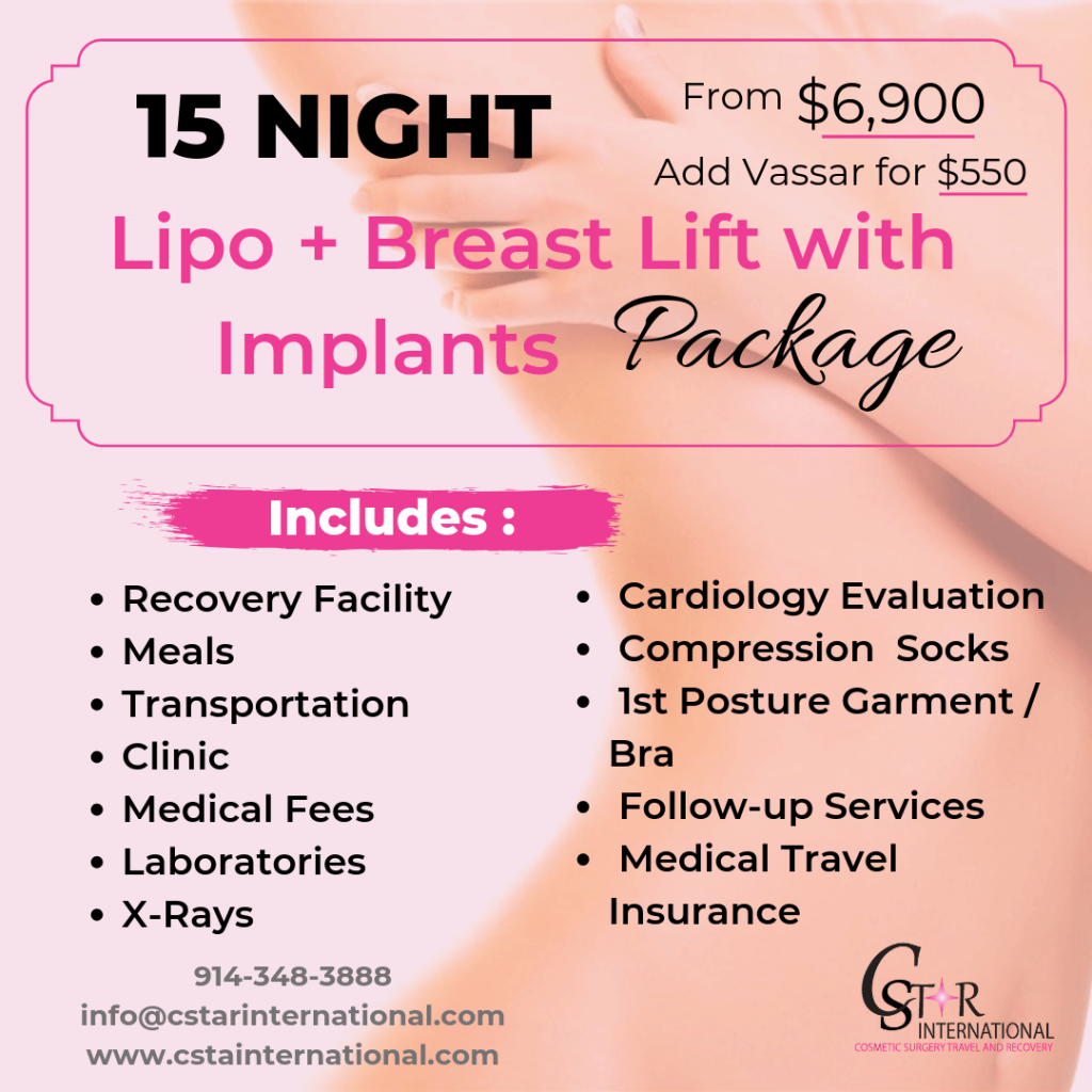 15 Night Lipo + Breast Lift with Implants Package